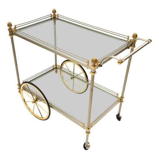 Hollywood Regency Brass and Steel Bar Cart